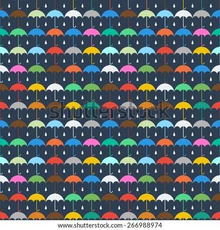 Autumn umbrella and rain drops seamless pattern design for web, print, wallpaper, decals, fall winter fashion, textile design, invitation or website background, holiday home decor - stock vector