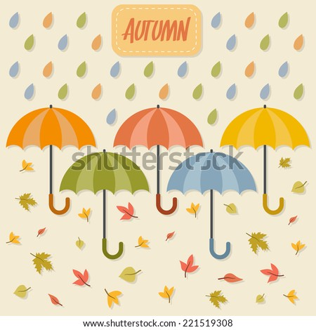 Autumn: umbrellas, rain drops and leaves. Flat style vector illustration.