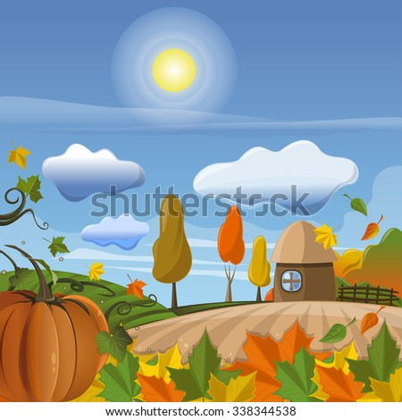 Autumn vector background with pumpkin and leaf litter against the background of the rural landscape. - stock vector