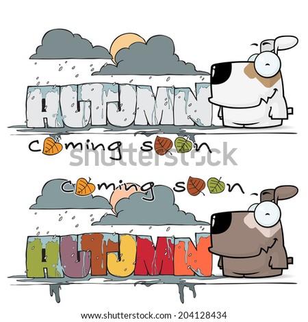 Autumn vector card with cartoon doggy character. - stock vector