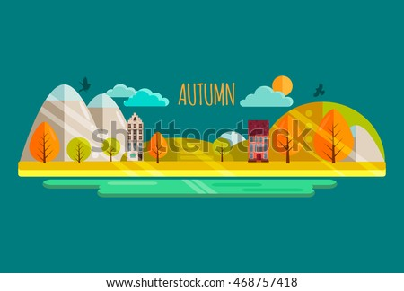 Autumn. Vector illustration.Autumn park with yellow and orange trees,cute houses,sun, river.Autumn nature landscape,mountains.