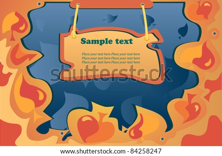 autumn vector orange,yellow leaf fall on the blue background - stock vector