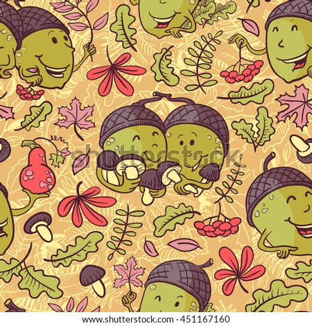 Autumn vector seamless pattern with smiling acorn characters and leaves in cartoon style - stock vector