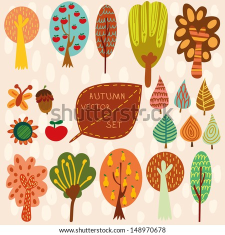 Autumn vector set,Collection of different cartoon  trees leaves and other - stock vector