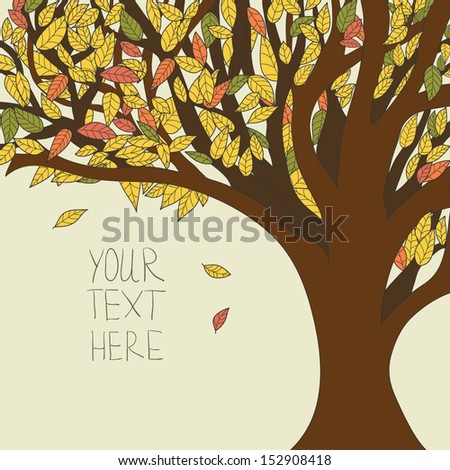 Autumn vector tree with flying leaves  - stock vector