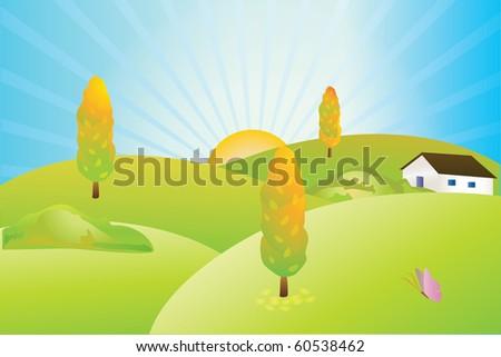 Autumn village - stock vector