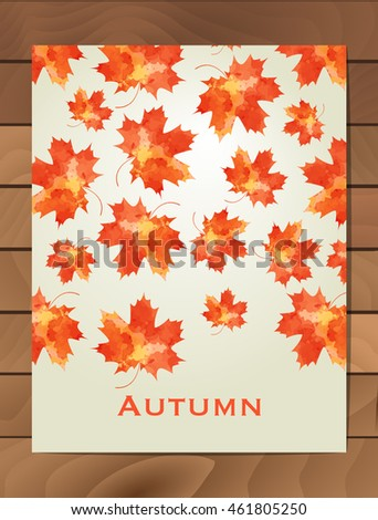 Autumn watercolor card. Wreath of autumn leaves. Background with hand drawn autumn leaves. Fall of the leaves. Sketch, design elements. Vector illustration