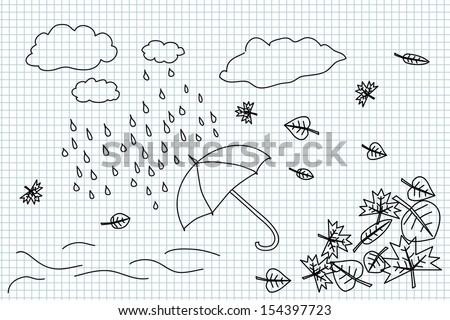 Autumn weather and umbrella hand drawing illustration
