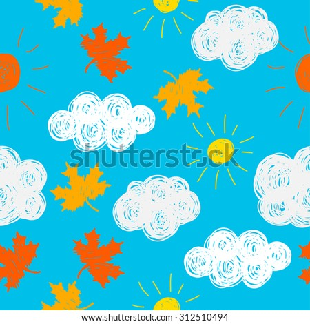 Autumn weather time theme. funny seamless patten background for use in design