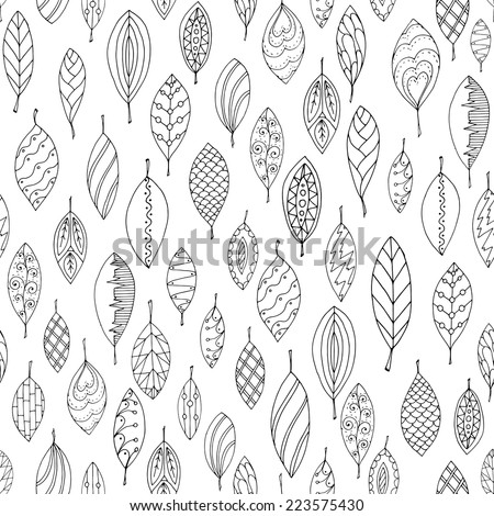 Autumn white and black seamless stylized leaf pattern in doodle style. Seamless decorative template texture with leaves. Used clipping mask for easy editing. - stock vector