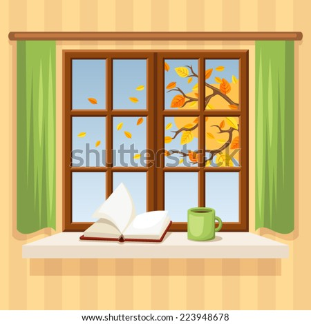Autumn window. Vector illustration. - stock vector