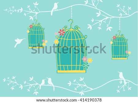 Autumn with cages and birds on green backgrounds, vector illustrations