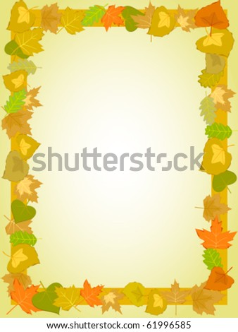 autumn yellow leaf rectangle frame pattern