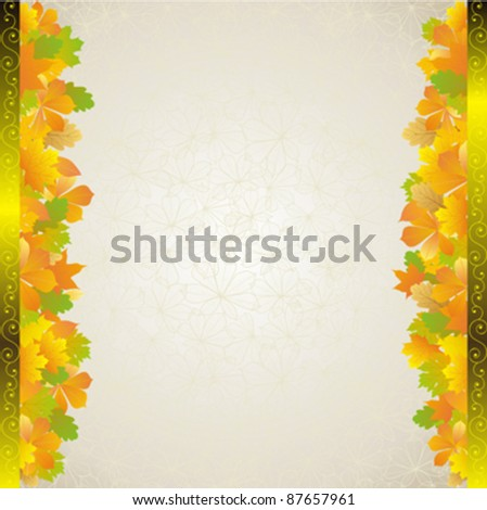 autumn yellow leaves frame with plant background