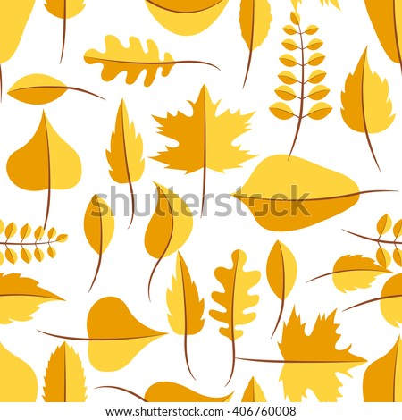 Autumn yellow withered leaves in flat lay style seamless pattern. Oak leaf, chestnut leaf, maple, birch and acacia leaves. - stock vector