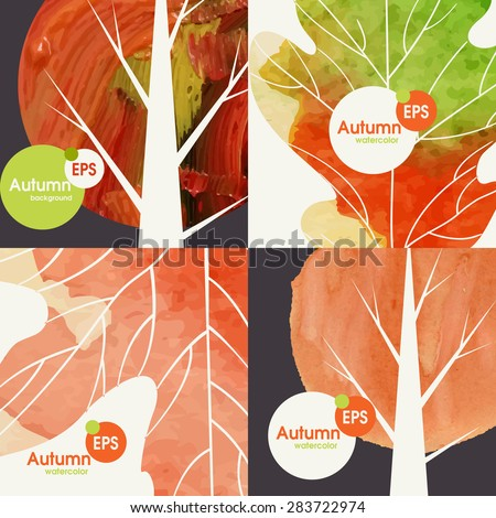 Autumnal Background Set. Vector Illustration. Eps 10 - stock vector