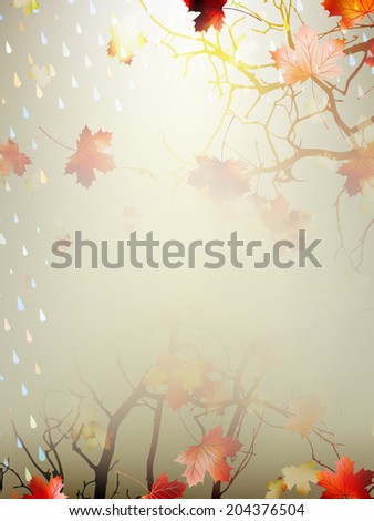 Autumnal Background with maple leaves. And also includes EPS 10 vector - stock vector