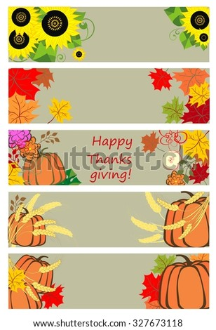 Autumnal banners for thanksgiving day - stock vector