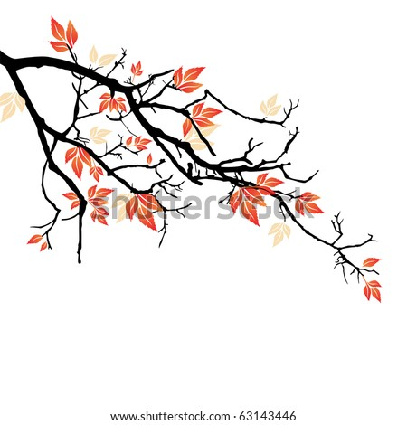 Autumnal branch - stock vector