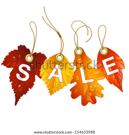 Autumnal discount. Vector fall leaf isolated on white background - stock vector