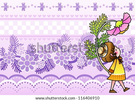 Autumnal Fairy Tale - walking on the romantic garden with a lovely cute young child and a beautiful pink flower on a purple background of floral patterns : vector illustration - stock vector