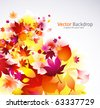 autumnal falling leaves vector background - stock vector