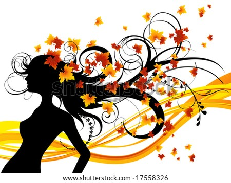 Autumnal haircut on white background, vector illustration, EPS file included - stock vector
