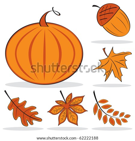 Autumnal icon set. Vector illustration - stock vector