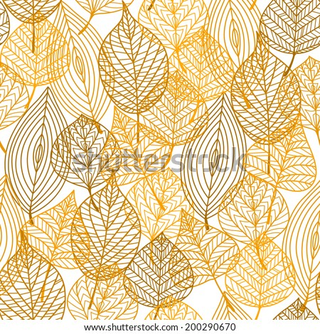 Autumnal leaves seamless pattern in yellow, orange and brown colors for seasonal or wallpaper design - stock vector