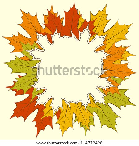 Autumnal maple leaf frame, with space for text or image. EPS10 vector illustration.