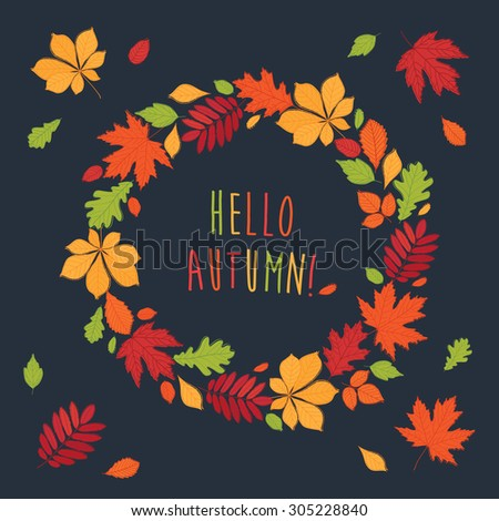 Autumnal round frame. Wreath of autumn leaves. Background with hand drawn autumn leaves. Fall of the leaves. Autumn leaves are drawn on the chalkboard. Sketch, design elements. Vector illustration. - stock vector