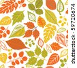 autumnal seamless pattern with leaf - stock vector