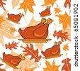 Autumnal seamless pattern with turkeys. Vector illustration - stock vector