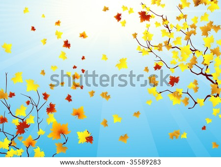 Autumnal sky, vector illustration, EPS file included