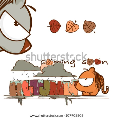 Autumnal vector card with funny cartoon tiger and text. - stock vector