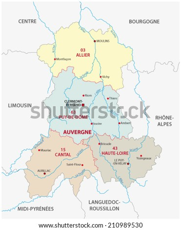 auvergne administrative map