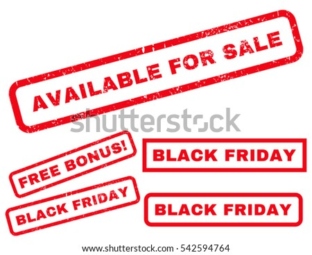 Available For Sale rubber seal stamp watermark with additional design elements for Black Friday sales. Vector red signs. Text inside rectangular banner with grunge design and unclean texture.