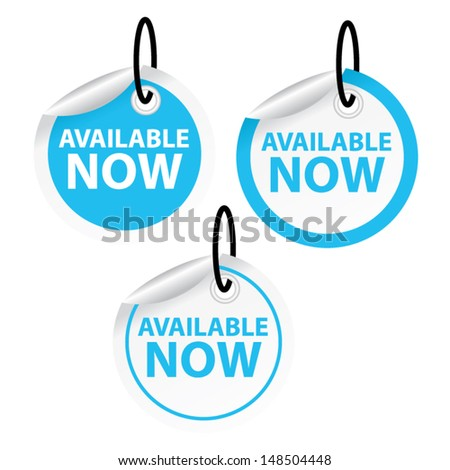 Available now blue sky and white tags, eps10 vector illustration - stock vector