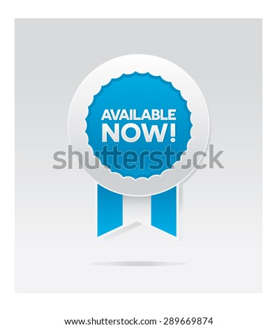 available now blue vector badge - stock vector