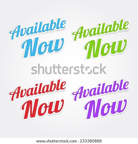 available now colorful vector icon design stock vector