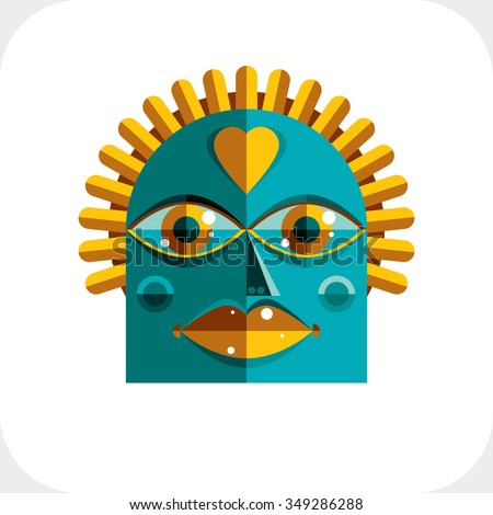 Avant-garde avatar, personality face created in cubism style. Modern geometric portrait, multicolored vector illustration of facial expression. - stock vector