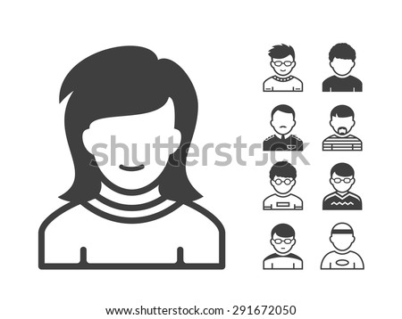 Avatar and user icon set. Occupation and people icons. Vector illustration - stock vector