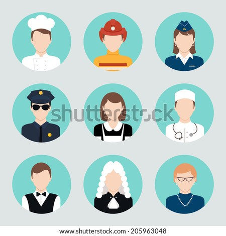 Avatar business users flat icons set of teacher lawyer cook doctor isolated vector illustration - stock vector
