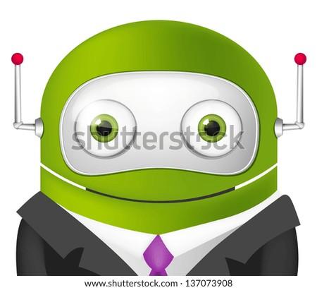 Avatar Cartoon Character Cute Robot. Businessmen Cross Hands. Vector EPS 10. - stock vector