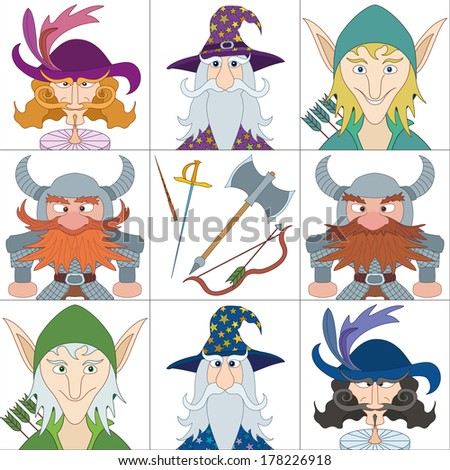 Avatar faces of fantasy brave heroes: elf, dwarf, wizard and noble cavalier, funny comic cartoon user icons and weapons of heroes, set. Vector - stock vector