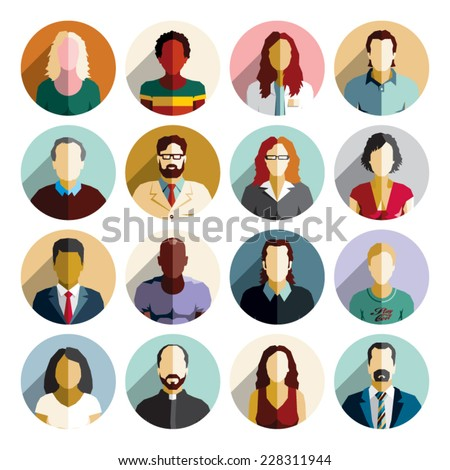 Avatar flat design icons. People icons. - stock vector