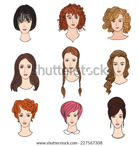 Avatar icon set. Beautiful young girls with various hair style  - stock vector