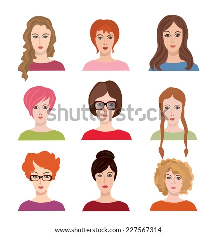 Avatar icon set beautiful young girls with various hair style stock