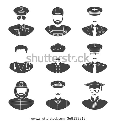 Avatar icon silhouette profession people: cop, builder, pilot, doctor, cook, fireman, driver, judge. Face men. Black icons man on white background. Avatar silhouette. Vector. Pictogram man. Man icon - stock vector
