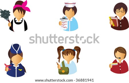 Avatar icons 5 Find similar avatar icons at my profile - stock vector